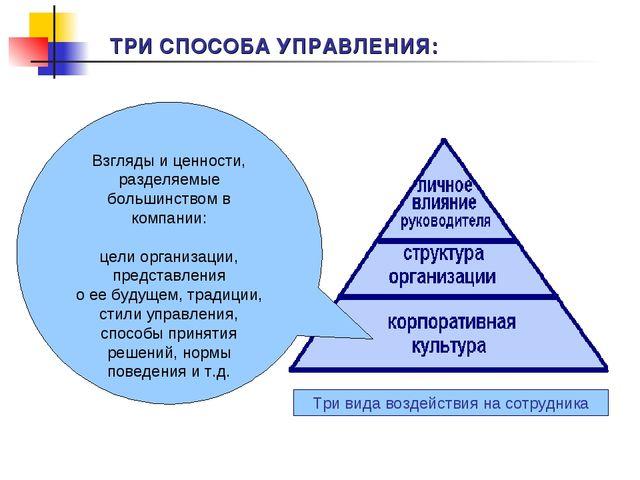 Взгляды и ценности, разделяемые большинством в компании: цели организации, пр...