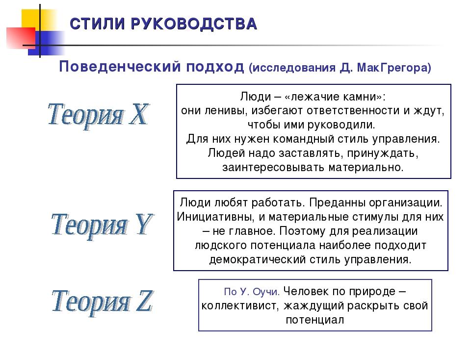 СТИЛИ РУКОВОДСТВА Поведенческий подход (исследования Д. МакГрегора) Люди – «л...