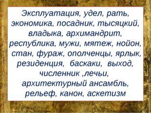 Эксплуатация, удел, рать, экономика, посадник, тысяцкий, владыка, архимандрит