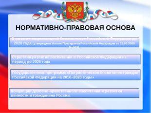 НОРМАТИВНО-ПРАВОВАЯ ОСНОВА Стратегия развития воспитания в Российской Федерац