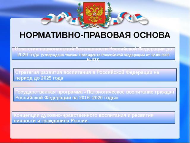 НОРМАТИВНО-ПРАВОВАЯ ОСНОВА Стратегия развития воспитания в Российской Федерац...