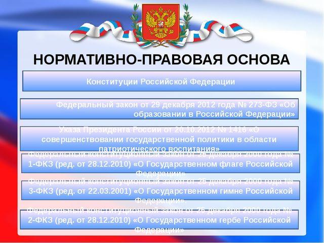 НОРМАТИВНО-ПРАВОВАЯ ОСНОВА Федеральный закон от 29 декабря 2012 года № 273-ФЗ...