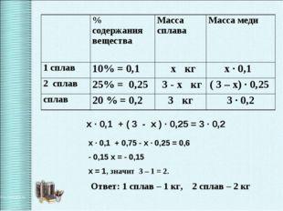 х ∙ 0,1 + ( 3 - х ) ∙ 0,25 = 3 ∙ 0,2 х ∙ 0,1 + 0,75 - х ∙ 0,25 = 0,6 - 0,15