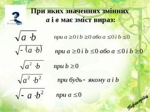 Піфагорійці При яких значеннях змінних а і в має зміст вираз: