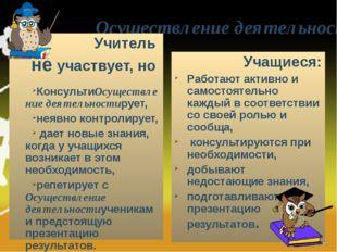 Осуществление деятельности Учитель не участвует, но КонсультиОсуществление де