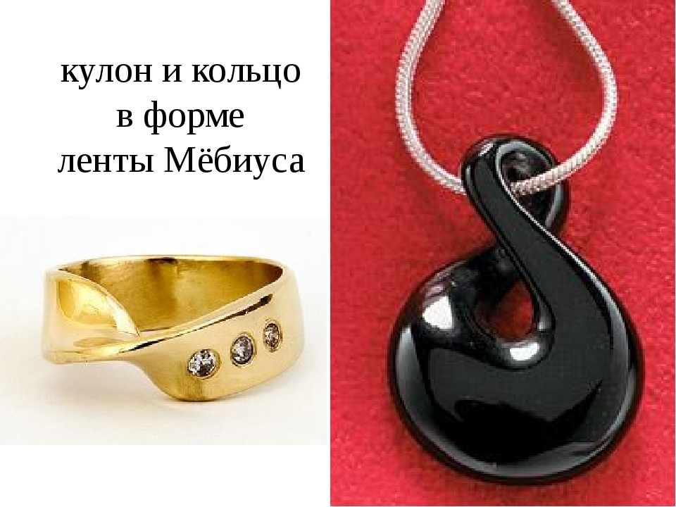 кулон и кольцо в форме ленты Мёбиуса
