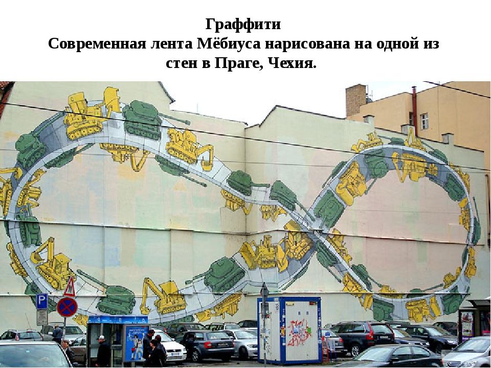 Граффити Современная лента Мёбиуса нарисована на одной из стен в Праге, Чехия.