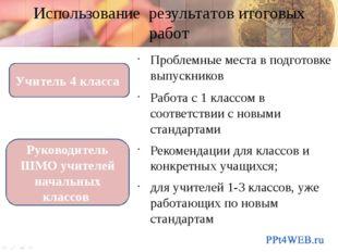 Использование результатов итоговых работ Проблемные места в подготовке выпуск