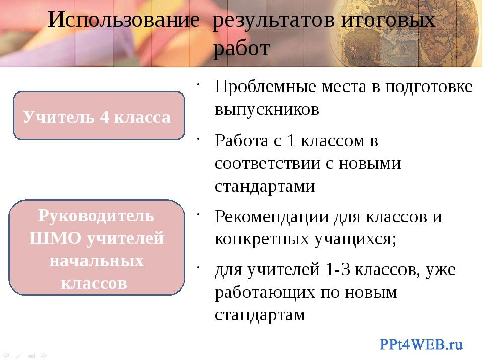 Использование результатов итоговых работ Проблемные места в подготовке выпуск...