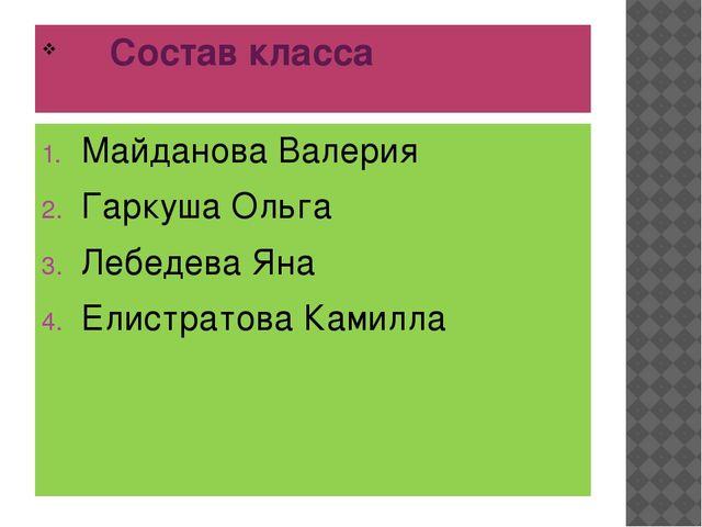 Состав класса Майданова Валерия Гаркуша Ольга Лебедева Яна Елистратова Камилла
