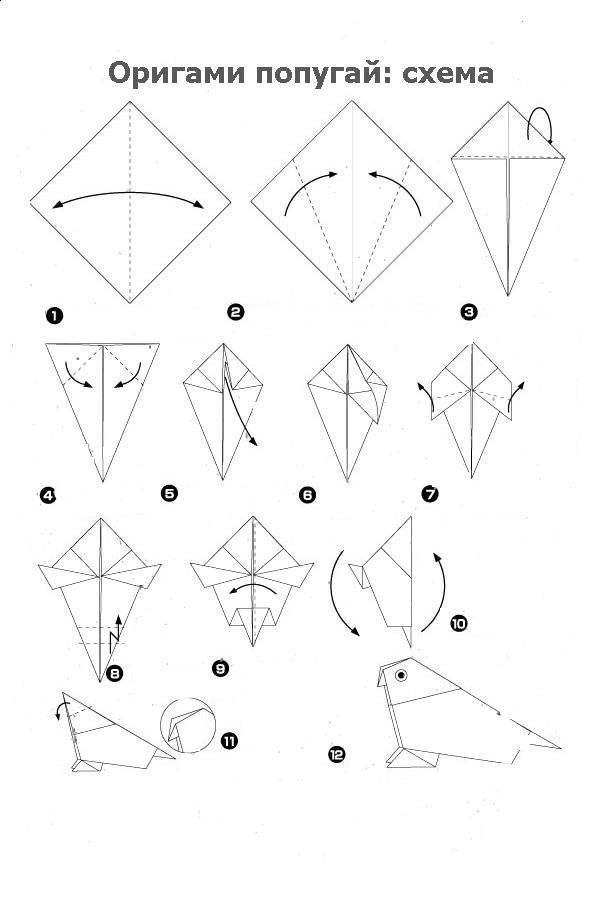 Схемы как сделать попугая оригами