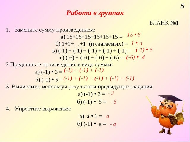 Работа в группах 5 БЛАНК №1 1. Замените сумму произведением: а) 15+15+15+15+1...
