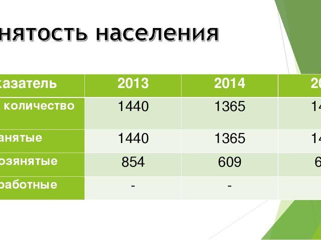 Показатель201320142015 Общее количество144013651489 Занятые144013651...