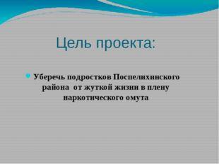 Цель проекта: Уберечь подростков Поспелихинского района от жуткой жизни в пле