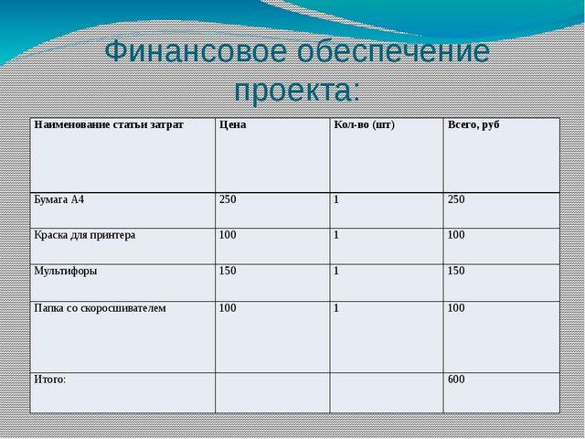 Финансовое обеспечение проекта: Наименование статьи затрат Цена Кол-во (шт) В...