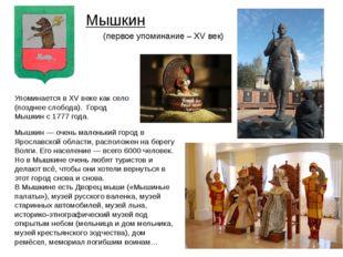 Мышкин— очень маленький город в Ярославской области, расположен на берегу Во