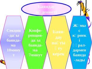 Баяндау мәдениеті Секция-дағы баянда-ма 10минут Конфе-ренция-дағы баянда-ма 7