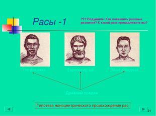 Расы* -1 * Древний предок Гипотеза моноцентрического происхождения рас ??? П