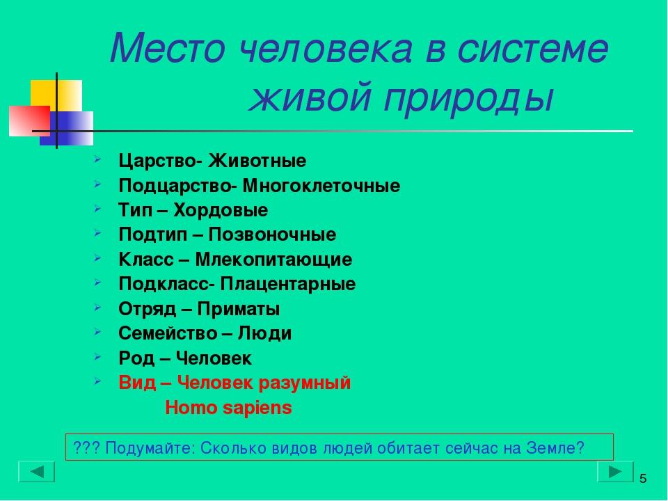 Место человека в системе живой природы Царство- Животные Подцарство- Многокле...