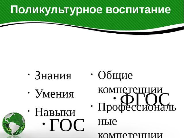 Поликультурное воспитание ГОС Знания Умения Навыки ФГОС Общие компетенции Про...