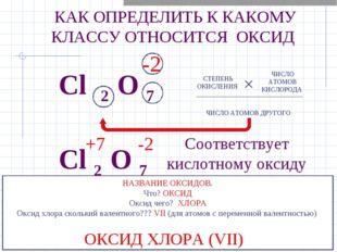 Cl 2 O 7 -2 СТЕПЕНЬ ОКИСЛЕНИЯ ЧИСЛО АТОМОВ КИСЛОРОДА × ЧИСЛО АТОМОВ ДРУГОГО C