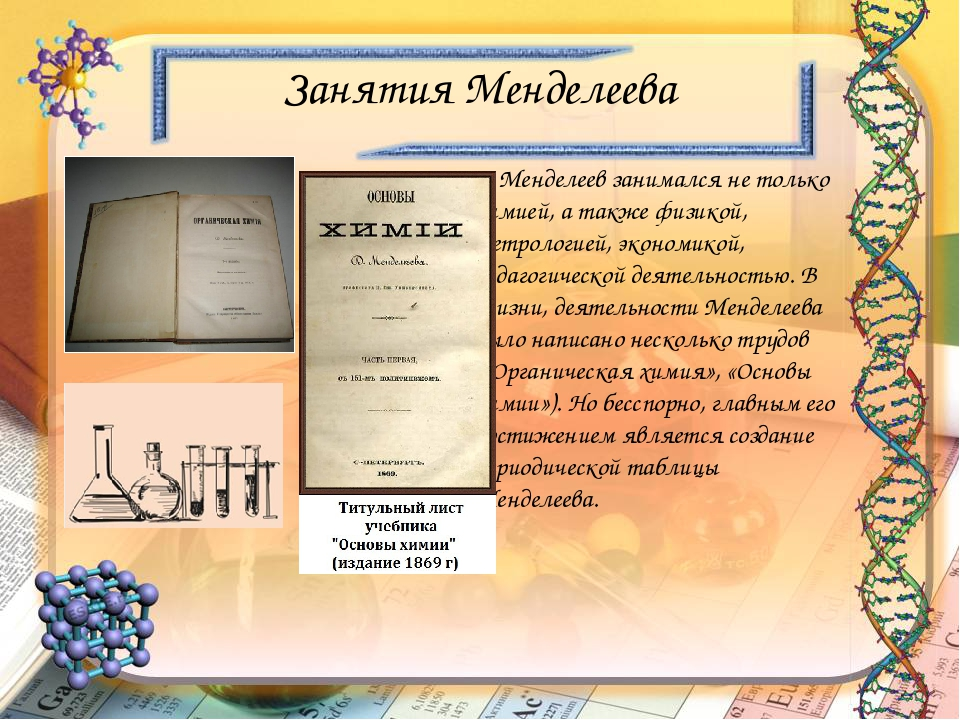 Презентация по биологии на тему Дмитрий Иванович Менделеев  слайда 16 Занятия Менделеева Менделеев занимался не только химией а также физикой мет