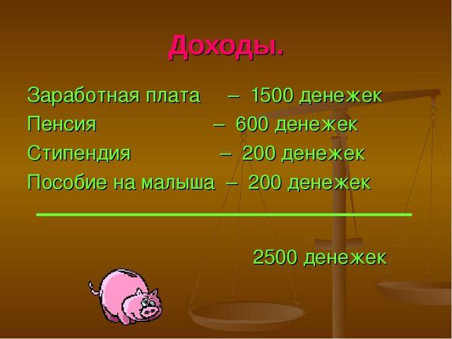 Доходы. Заработная плата – 1500 денежек Пенсия – 600 денежек Стипендия – 200...