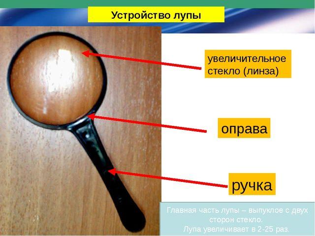 Устройство лупы увеличительное стекло (линза) оправа ручка Главная часть лупы...