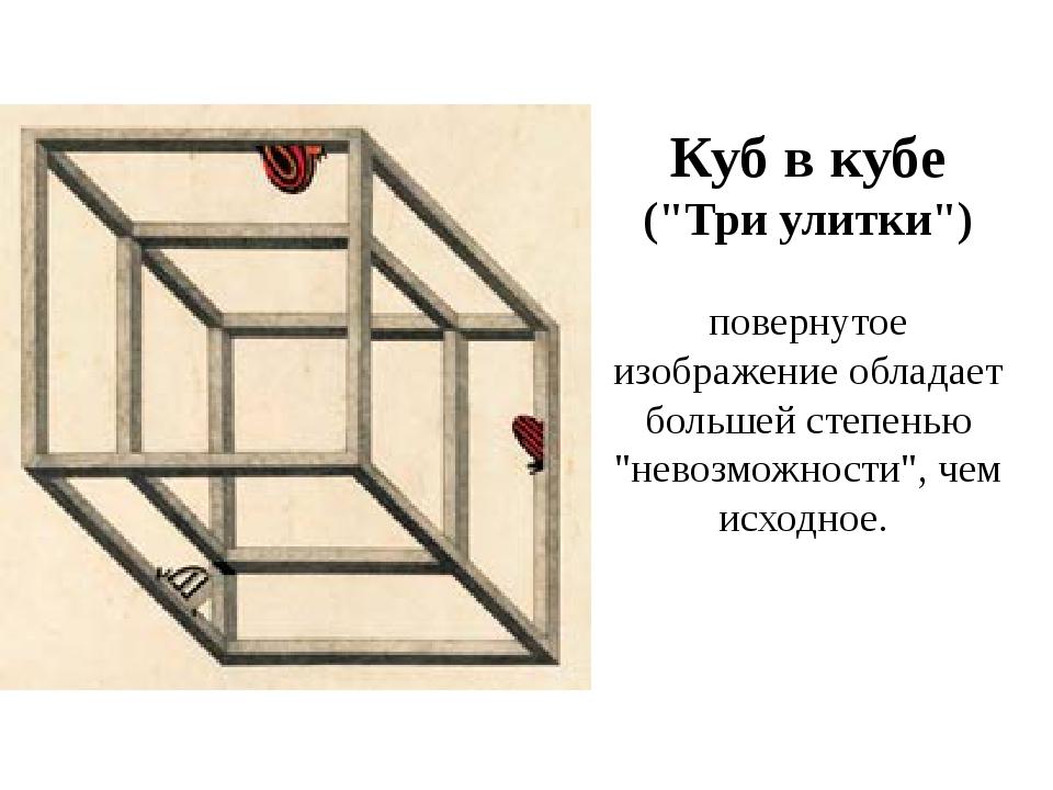 """Куб в кубе (""""Три улитки"""") повернутое изображение обладает большей степенью """"н..."""