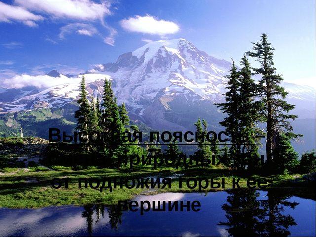 Высотная поясность – смена природных зон от подножия горы к ее вершине