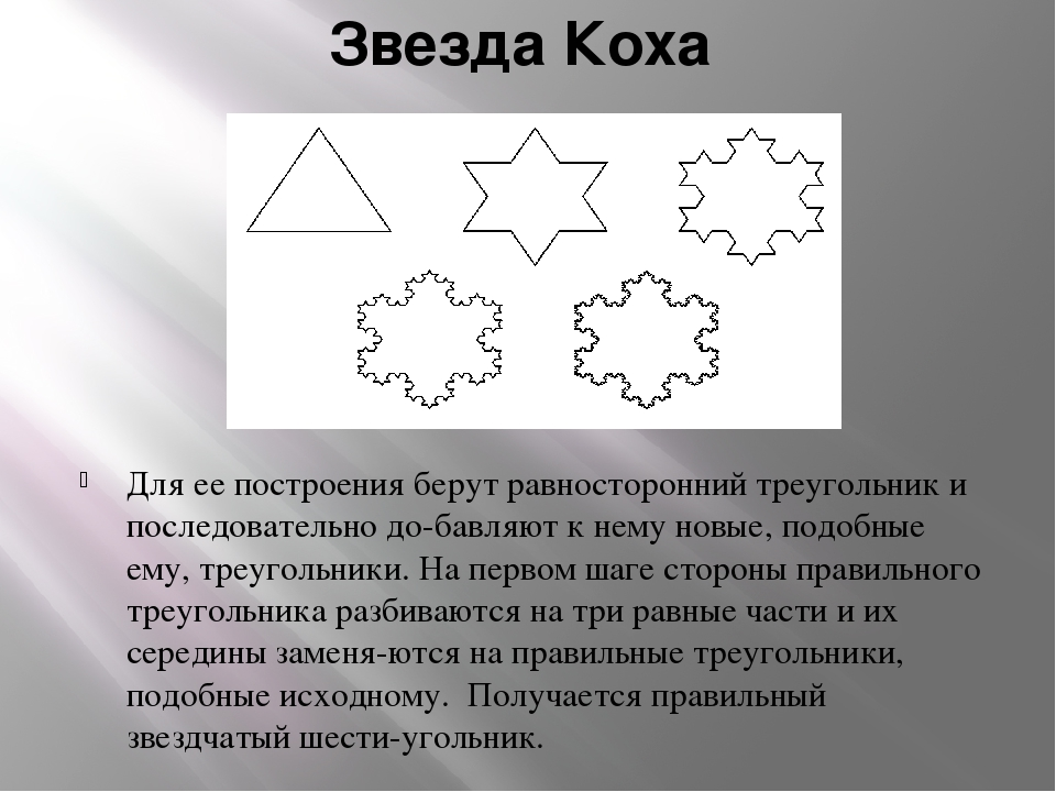 Звезда Коха Для ее построения берут равносторонний треугольник и последовател...