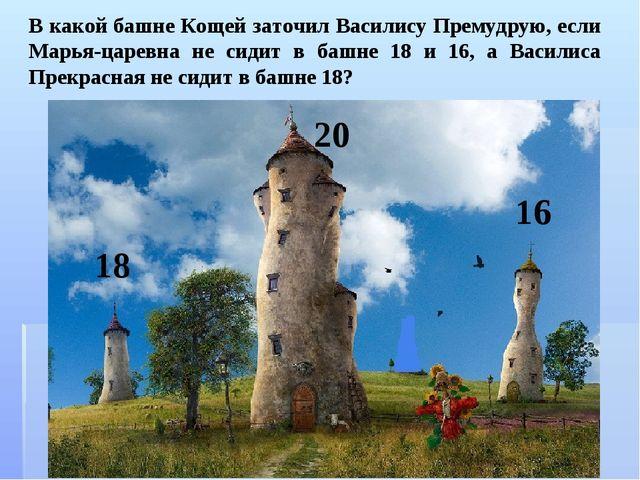 В какой башне Кощей заточил Василису Премудрую, если Марья-царевна не сидит в...