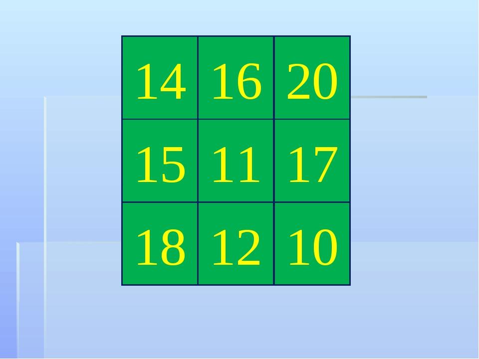 14 16 20 10 15 11 17 12 18