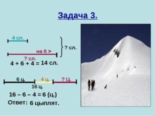 Задача 3. 4 сл. на 6 > ? сл. ? сл. 16 ц. 6 ц. 4 ц. ? Ц. 4 + 6 + 4 = 14 сл. 16