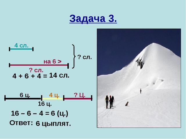 Задача 3. 4 сл. на 6 > ? сл. ? сл. 16 ц. 6 ц. 4 ц. ? Ц. 4 + 6 + 4 = 14 сл. 16...