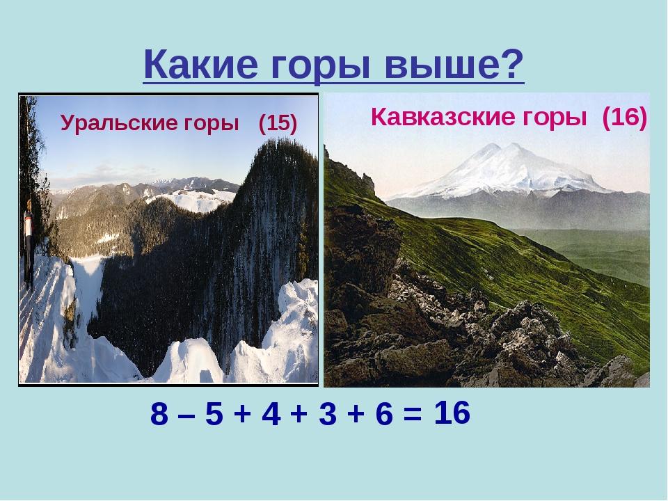 Какие горы выше? Уральские горы (15) 8 – 5 + 4 + 3 + 6 = 16 Кавказские горы (...