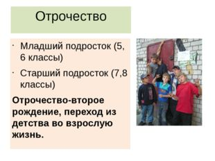 Отрочество Младший подросток (5, 6 классы) Старший подросток (7,8 классы) Отр