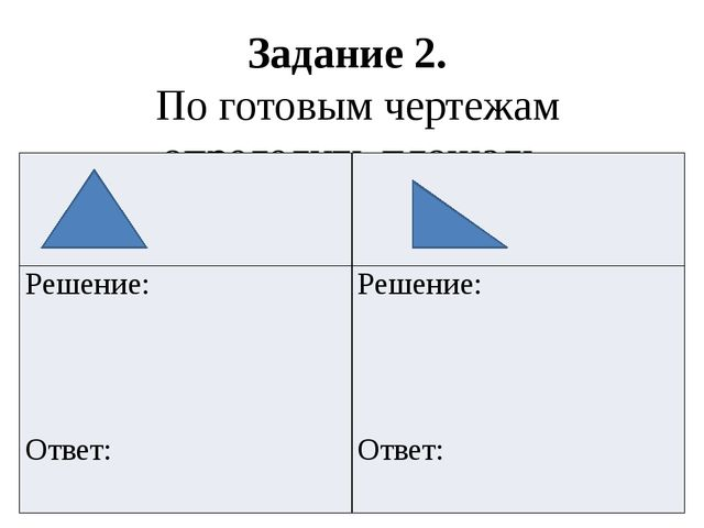 Задание 2. По готовым чертежам определить площадь треугольников Решение: Отве...