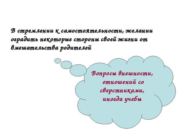 В стремлении к самостоятельности, желании оградить некоторые стороны своей жи...