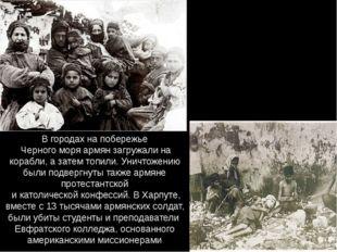 В городах на побережье Черного моря армян загружали на корабли, а затем топил
