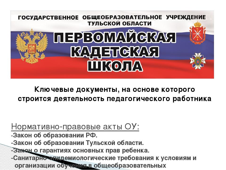 Нормативно-правовые акты ОУ: -Закон об образовании РФ. -Закон об образовании...