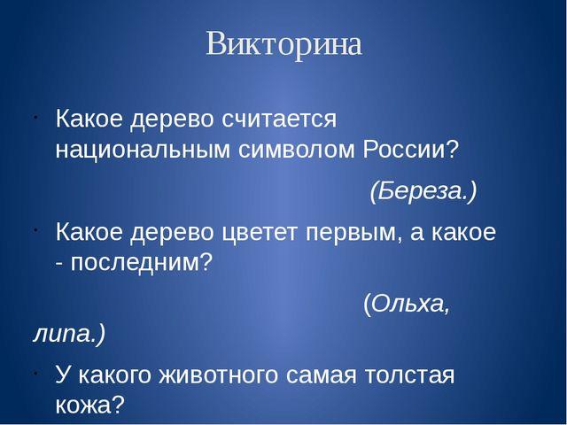Викторина Какое дерево считается национальным символом России? (Береза.) Како...