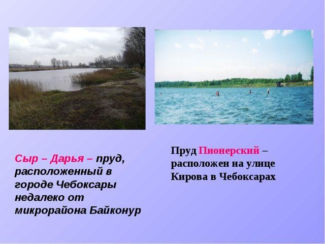 Сыр – Дарья – пруд, расположенный в городе Чебоксары недалеко от микрорайона...