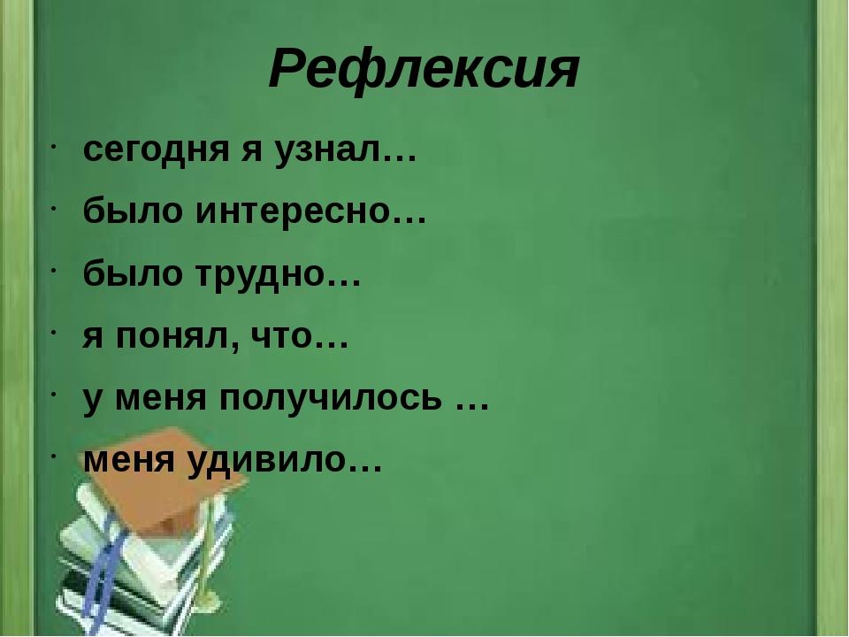 Рефлексия сегодня я узнал… было интересно… было трудно… я понял, что… у меня...