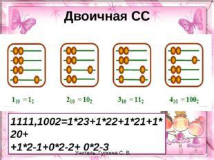 Двоичная СС 1111,1002=1*23+1*22+1*21+1*20+ +1*2-1+0*2-2+ 0*2-3 Учитель: Гурки