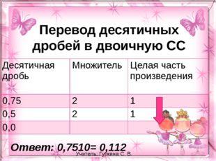 Перевод десятичных дробей в двоичную СС Ответ: 0,7510= 0,112 Учитель: Гуркина
