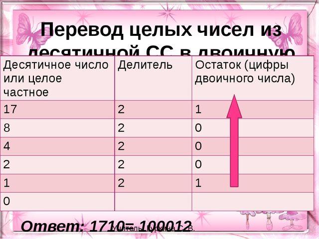 Перевод целых чисел из десятичной СС в двоичную Ответ: 1710= 100012 Учитель:...