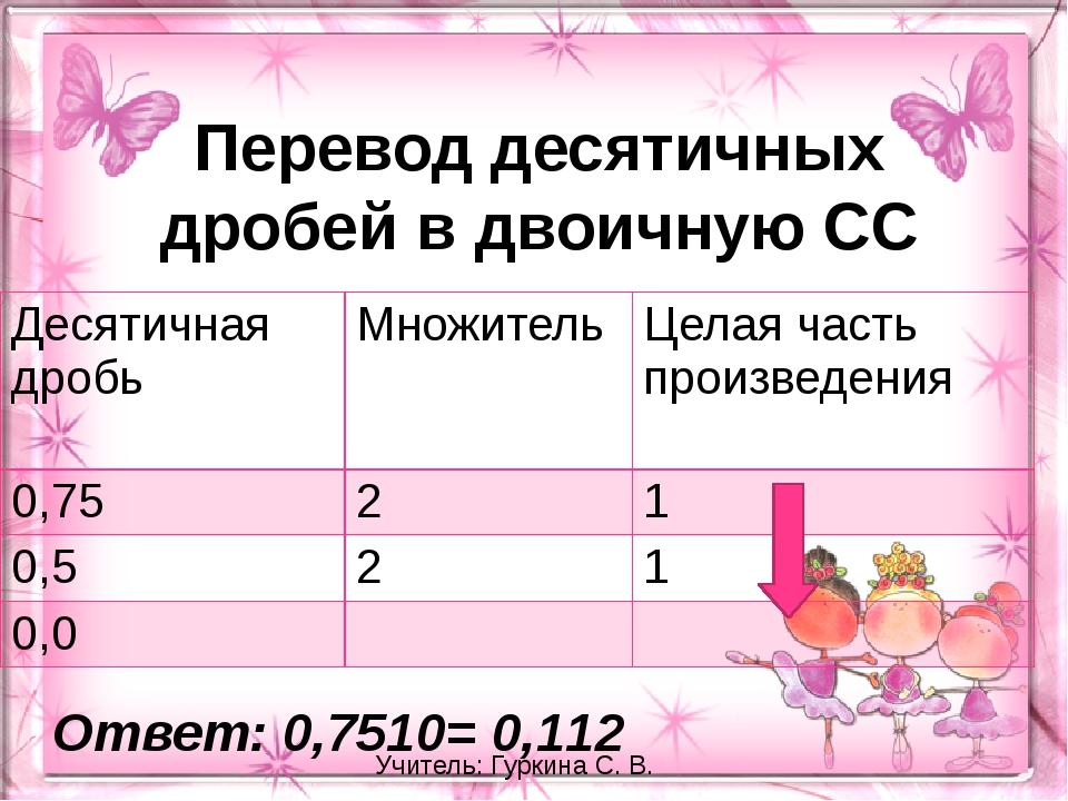 Перевод десятичных дробей в двоичную СС Ответ: 0,7510= 0,112 Учитель: Гуркина...