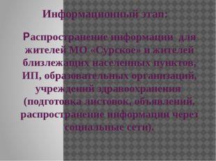 Информационный этап: Распространение информации для жителей МО «Сурское» и жи