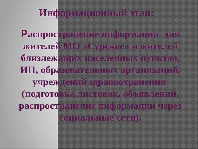 Информационный этап: Распространение информации для жителей МО «Сурское» и жи...